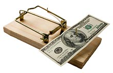 Mouse trap ready to grab your money